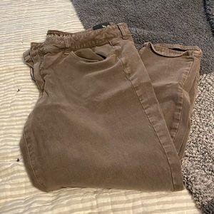 AE Brown Sateen pants sz 18 short